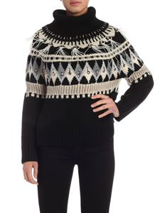 Twin-Set - Decorated turtleneck pullover in black