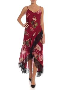 Twin-Set - Floral print long dress in burgundy