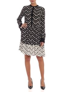 Twin-Set - Pleated printed dress in black