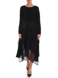 Twin-Set - Knit dress in black with lace inserts