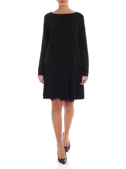 Twin-Set - Plumage knitted dress in black
