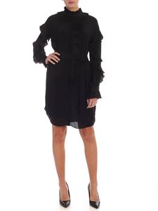 Twin-Set - Shirt dress in black with ruffles