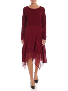 Twin-Set - Knit dress with lace inserts in burgundy