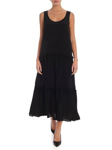 Twin-Set - Long dress in black with tulle flounces