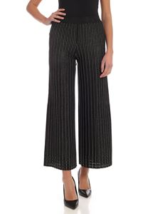 Twin-Set - Wide trousers in black and silver lamé