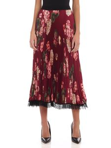 Twin-Set - Pleated skirt with floral print in burgundy