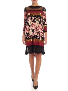 Twin-Set - Floral knit dress with tulle inserts