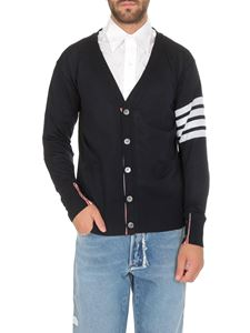 Thom Browne - Blue cardigan with white stripes