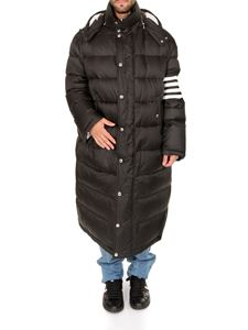Thom Browne - Black oversized down jacket with white stripes