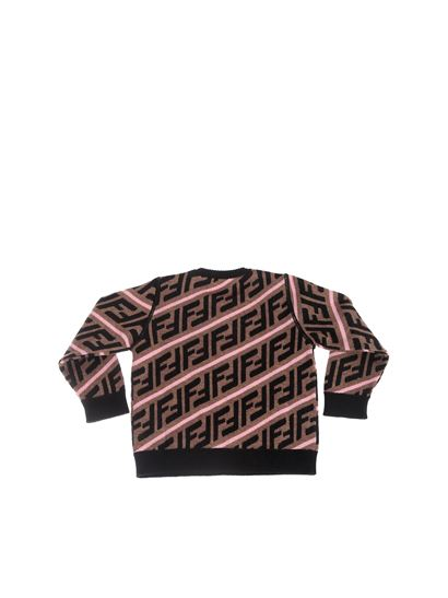 Fendi Jr - FF pullover in brown and pink