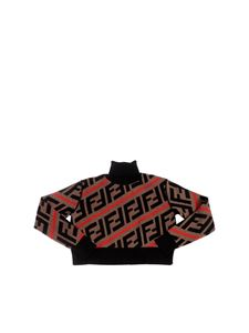 Fendi Jr - Brown black and red pullover with FF logo