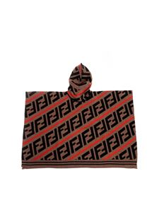 Fendi Jr - Black brown and red cape with FF logo