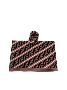 Fendi Jr - Black brown and pink cape with FF logo
