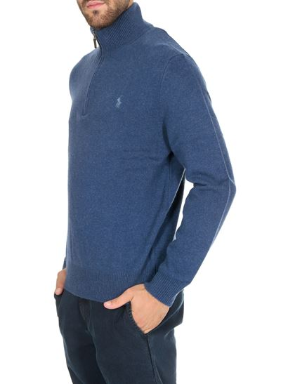 POLO Ralph Lauren - Blue turtleneck pullover with logo on the chest
