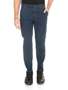 Fay - Chino trousers in blue knitted cotton