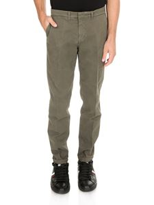 Fay - Textured cotton trousers in green
