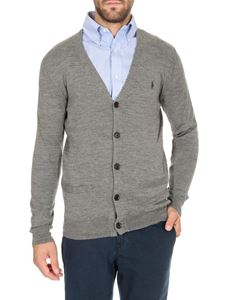 POLO Ralph Lauren - Embroidered logo cardigan in grey