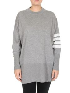Thom Browne - Oversized grey pullover with 4 Bar stripes