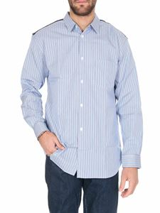 Comme Des Garçons Shirt  - Striped shirt in light blue with patchwork on top