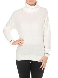 Fay - White turtleneck with golden cuffs