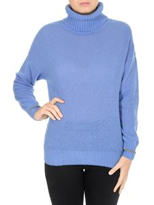 Fay - Light blue turtleneck with golden cuffs