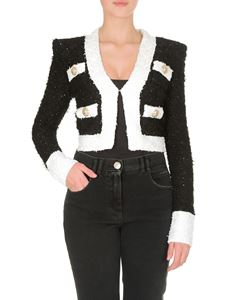 Balmain - Black jacket with white edges and golden buttons
