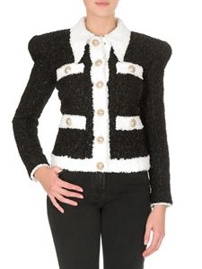 Balmain - Black jacket with white maxi-collar