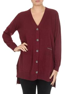 Fabiana Filippi - Cardigan scollo a V in lana vergine bordeaux