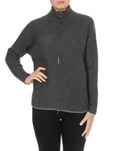 Fabiana Filippi - Virgin wool cardigan in anthracite color with jewel detail