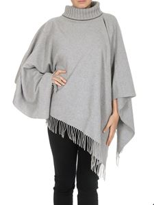 Fabiana Filippi - Fringed wool cape in melange grey