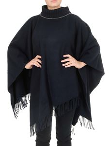 Fabiana Filippi - Fringed wool cape in dark blue