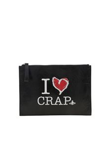 Vivienne Westwood  - I Love Crap clutch bag in black