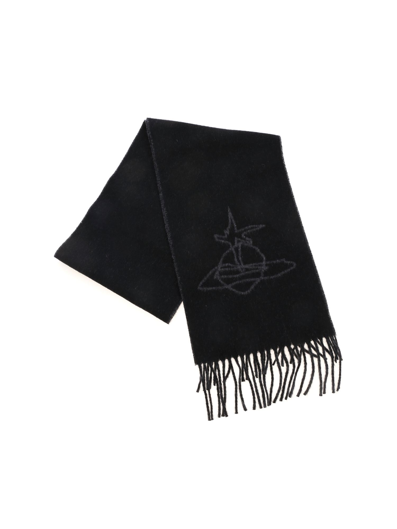 Vivienne Westwood SCRIBBLE ORB SCARF IN BLACK AND GRAY