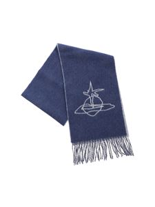 Vivienne Westwood  - Scribble Orb scarf in blue and gray