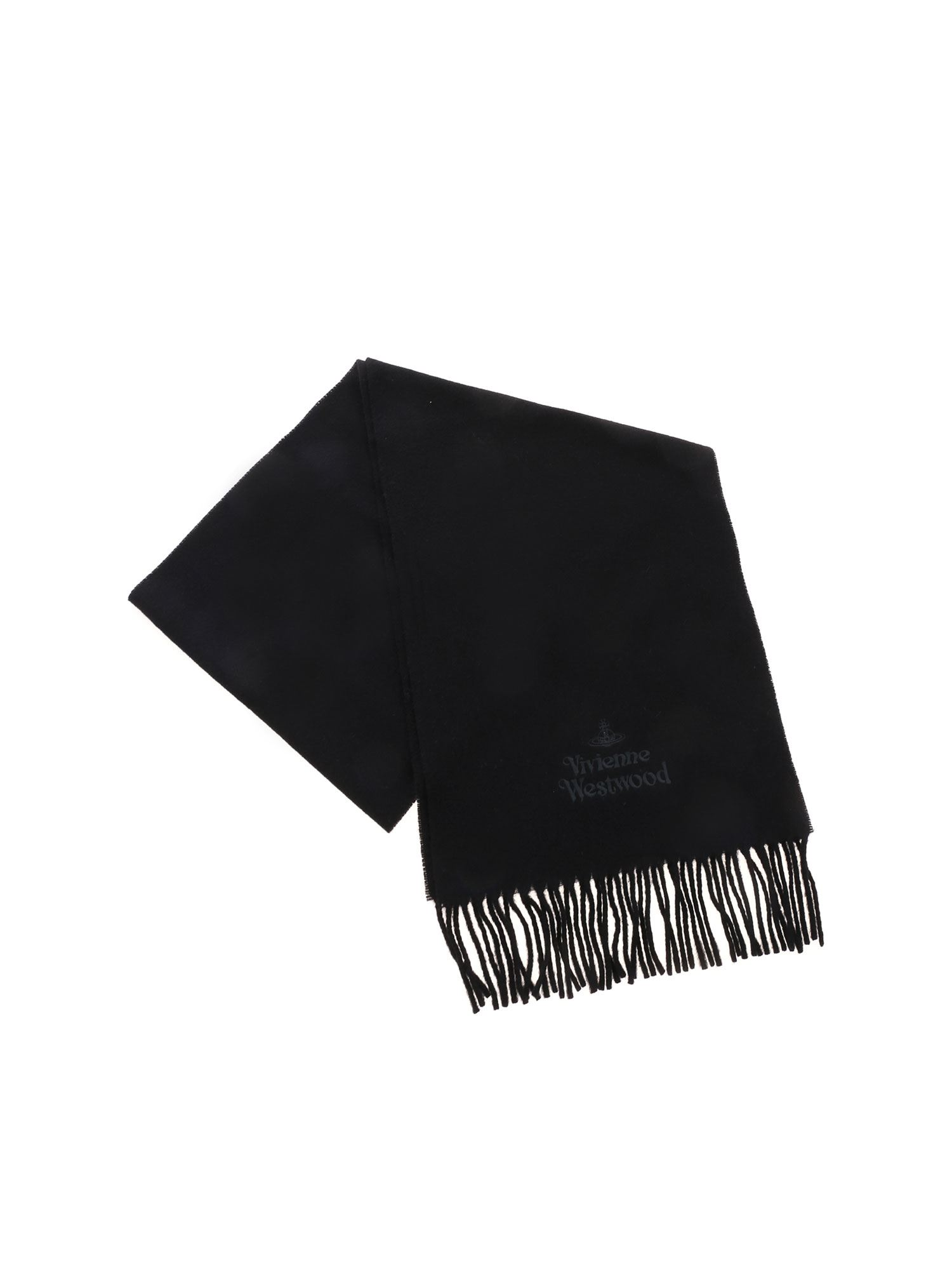 Vivienne Westwood EMBROIDERED LOGO SCARF IN BLACK