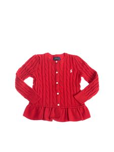 POLO Ralph Lauren - Cable knitted cardigan in red with frilled bottom