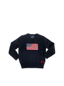 POLO Ralph Lauren - Crew-neck pullover in blue with flag intarsia