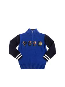 POLO Ralph Lauren - Polo Bear sweater in blue with zip on the neck