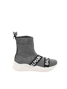 Balmain - Sock sneakers in melange gray