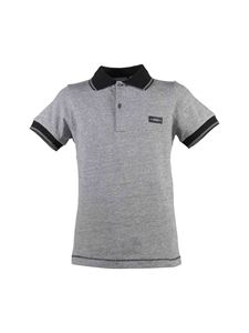 Baby Dior - Chiné gray polo shirt with contrasting collar