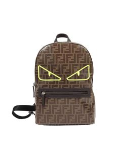 Fendi Jr - Backpack with all-over FF logo and neon eyes