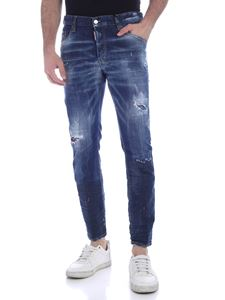Dsquared2 - Washed-effect skater jeans in blue