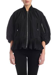 Red Valentino - Bomber in black with pleated flounce
