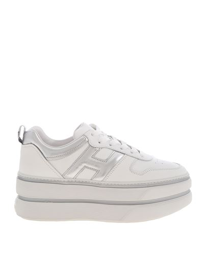 Hogan Spring Summer 2020 h449 sneakers white and silver ...