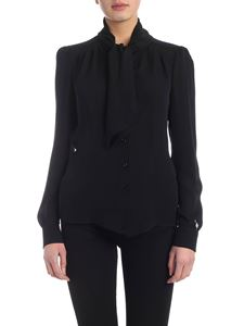 Moschino - Lavalliere shirt in black crepe de chine