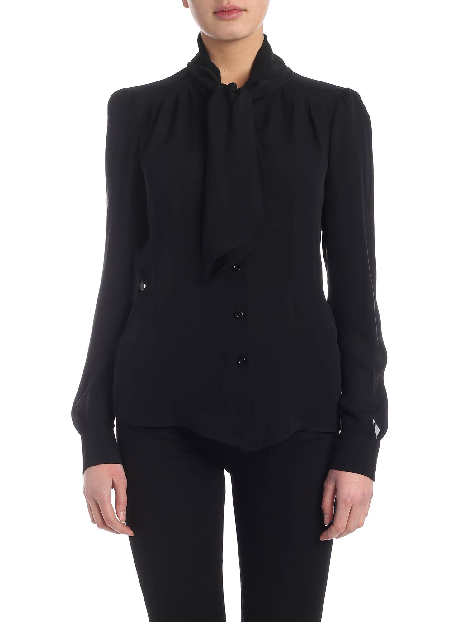 Moschino Lavalliere Shirt In Black Crepe De Chine