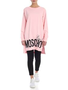 Moschino - Oversized T-shirt in pink with logo print