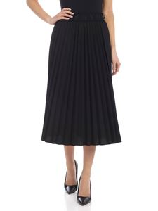 DKNY - Pleated skirt with branded elastic in black