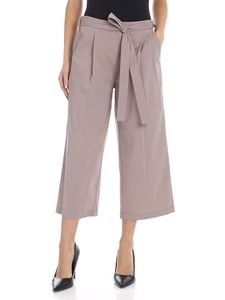 DKNY - Crop pants in dove gray with bow at the waist