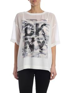 DKNY - Camouflage printed T-shirt in white